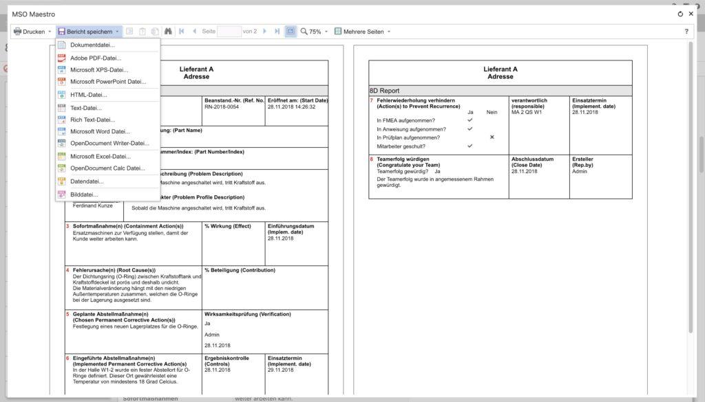 Das Maßnahmenmanagement von MSO liefert eigens definierte Formulare, mit denen User alle Informationen aus einer Maßnahme direkt in einem Datenblatt speichern können.